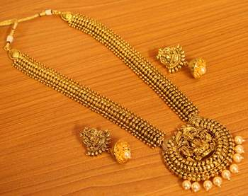 Gold Plated Temple Jewellery Look Long Necklace Set