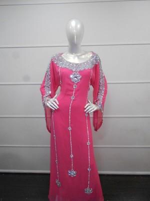 Pink Zari Work Gerogette Islamic Arabic Style Maxi Festive PartyWear Kaftan