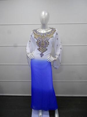 Multicolor Zari Work Gerogette Islamic Arabic Style Maxi Festive PartyWear Kaftan