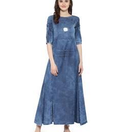 Buy Blue  denim kurti kurtas-and-kurtis online
