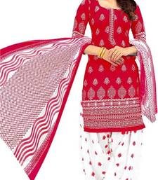 Buy Multicolor printed crepe semi stitched salwar with dupatta multicolor-salwar-kameez online