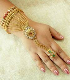 Buy Designer copper multicolour zircon adjustable haath phool hath panja ethnic wedding jewellery    haath-phool-hath-panja online
