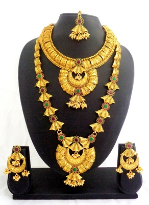 Ruby green copper long short temple necklace jewellery haaram set for wedding festival