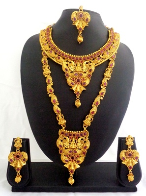 Ruby copper long short laxmi temple necklace jewellery haaram set for wedding festival