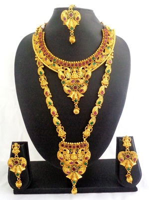Ruby green copper long short laxmi temple necklace jewellery haaram set for wedding festival