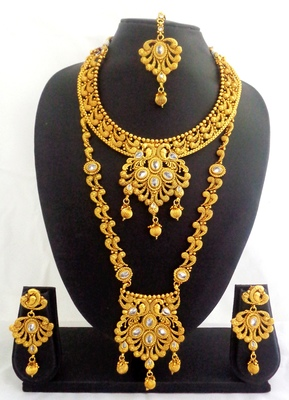 White copper long short necklace jewellery haaram set for wedding festival