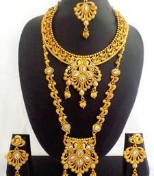 Buy White Copper Long Short Necklace Jewelry Haaram Set for Wedding Festival - LCLSN03_RG bridal-set online