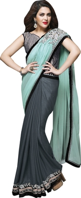 Grey And Green Embroidered Silk Saree With Blouse