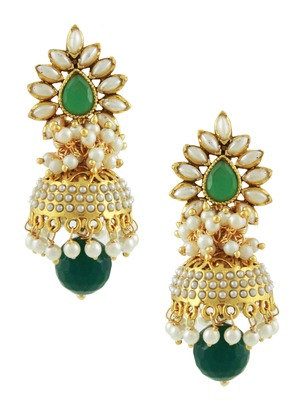 Emerald Green Traditional Rajwadi Jhumki Earrings Jewellery for Women - Orniza