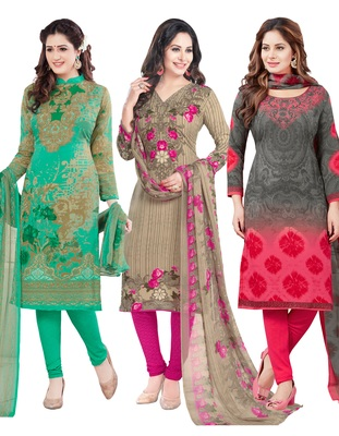 Multicolor Printed Synthetic Unstitched Combo Salwar Kameez With Dupatta