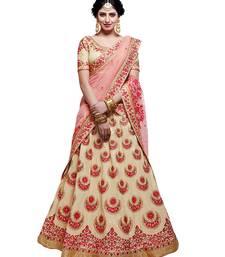 Buy Cream embroidered cotton silk unstitched lehenga readymade-lehenga-cholis online