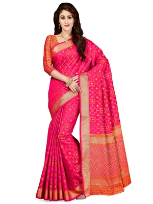 6806f57633 Pink woven silk blend saree with blouse - Saree Swarg - 2516470