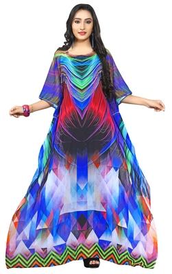 Multi Colour  Printed Georgette Islamic Style Partywear Islamic Kaftan