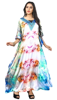 Multi Colour  Printed Satin Islamic Style Partywear Islamic Kaftan