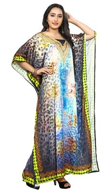 Multi Colour  Printed Satin Islamic Style Partywear Islamic Kaftan