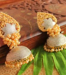 Awesome Pearl Cluster Silver Tone Jhumka