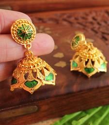 Gorgeous Gold Plated Green Palakka Jhumka