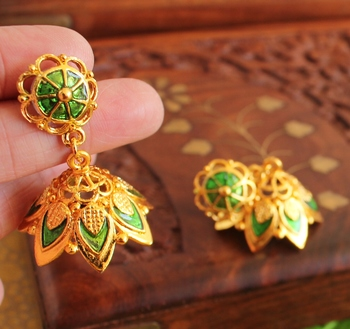 Gorgeous Gold Plated Green Palakka Jhumka