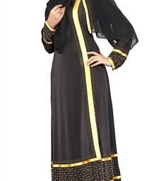 Black Printed Lycra Islamic Style Festive Wear Burka With Hijab