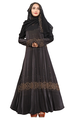 Black Printed Lycra Islamic Style Festive Wear Burka With Hijab