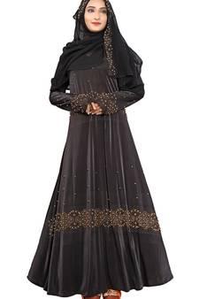 ec19edb9b8a9 Black Printed Lycra Islamic Style Festive Wear Burka With Hijab