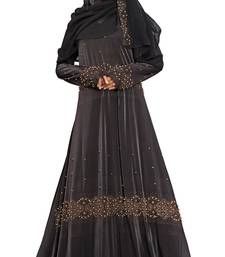 Buy Black Printed Lycra Islamic Style Festive Wear Burka With Hijab women-ethnic-wear online
