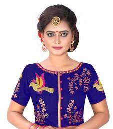 Blue Banglori Silk Readymade embroidery designer blouse