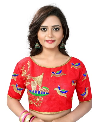 Red Banglori Silk Readymade embroidery designer blouse