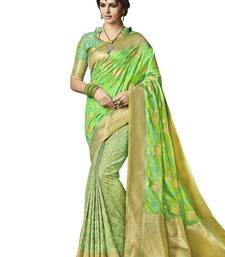 Buy Green Banarsi Jacqaurd saree with blouse party-wear-saree online