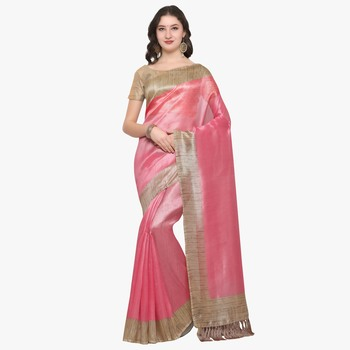 Pink plain semi  tussar silk saree with blouse
