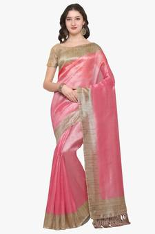 ab6724b7707aec Pink plain semi tussar silk saree with blouse. Shop Now
