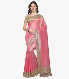 Buy Pink plain semi  tussar silk saree with blouse tussar-silk-saree online