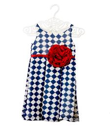 Chequered Dress With Rose Detailing kids frock