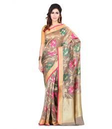 Buy Beige woven banarasi saree with blouse hand-woven-saree online