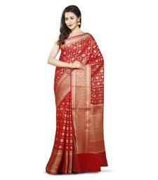 Buy Red woven banarasi saree with blouse hand-woven-saree online