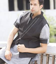 Buy Black plain linen designer pathani suit with nehru jacket nehru-jacket online