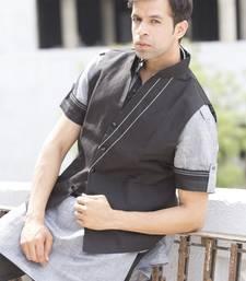 Buy Black plain linen designer pathani suit with nehru jacket kurta-pajama online