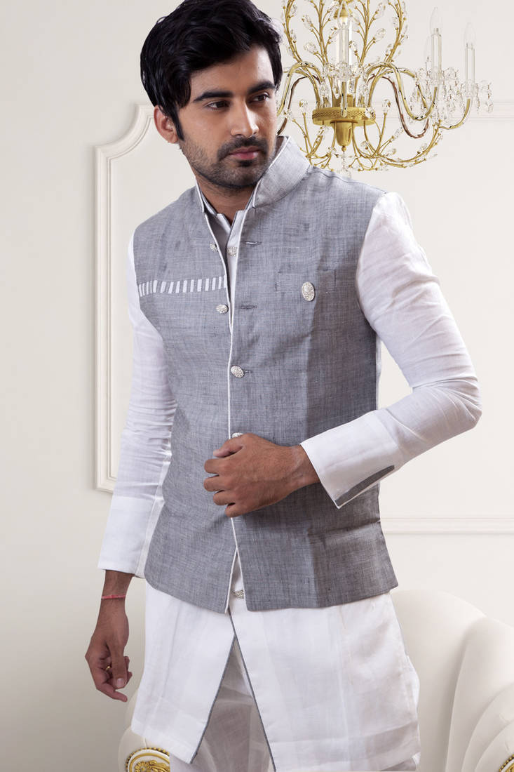 buy white plain linen pathhani suit with nehru jacket online