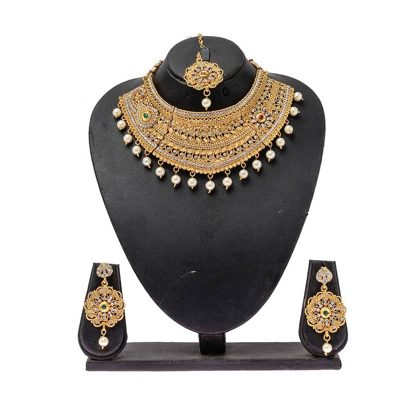 Indian Gold Plated Choker Necklace Traditional Bridal: Buy Indian Bollywood Style Traditional Bridal Gold Plated