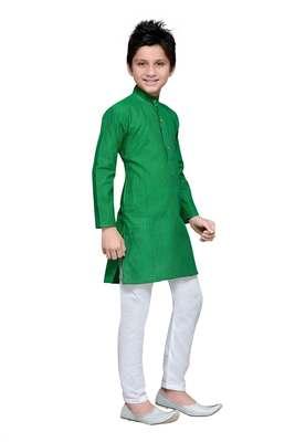 Green cotton kids kurta pyjama for boys
