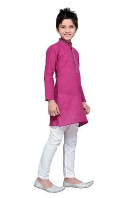 Purple Cotton Kids Kurta Pyjama For Boys