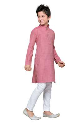 Pink Cotton Kids Kurta Pyjama For Boys