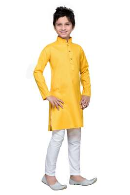 Yellow cotton kids kurta pyjama for boys