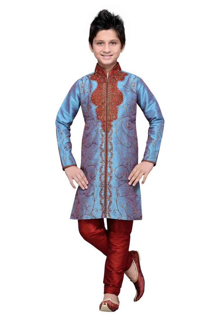 bda4f325b6 Rama green art silk kids kurta pyjama for boys - Indian Poshakh ...