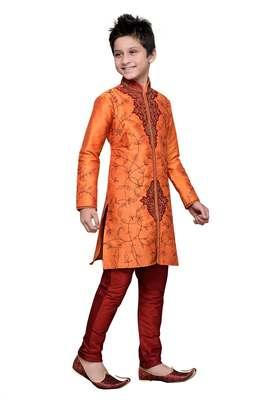 Orange art silk kids kurta pyjama for boys