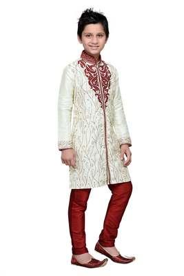 Cream art silk kids kurta pyjama for boys