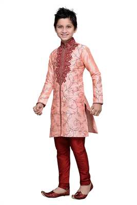 Pink Art Silk Kids Kurta Pyjama For Boys