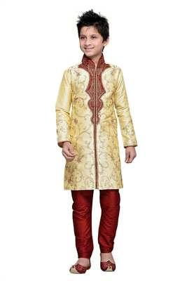 Gold art silk kids kurta pyjama for boys