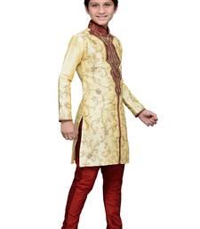 Buy Gold art silk kids kurta pyjama for boys boys-kurta-pyjama online