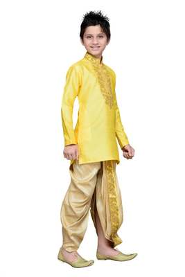 Yellow art silk kids kurta pyjama for boys